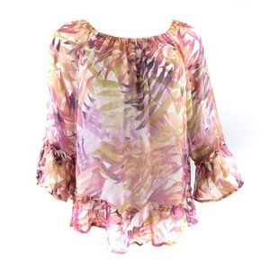 Lucky Brand Blouse Large Multi Off-the-shoulder